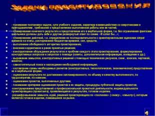 - понимание постановки задачи, сути учебного задания, характера взаимодействи