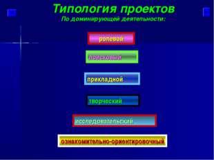 Типология проектов По доминирующей деятельности: исследовательский поисковый