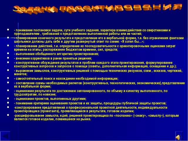 - понимание постановки задачи, сути учебного задания, характера взаимодействи...