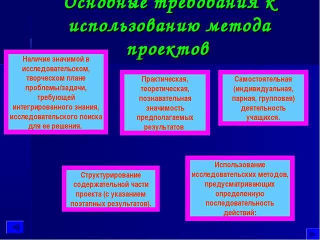 Основные требования к использованию метода проектов Наличие значимой в исслед...
