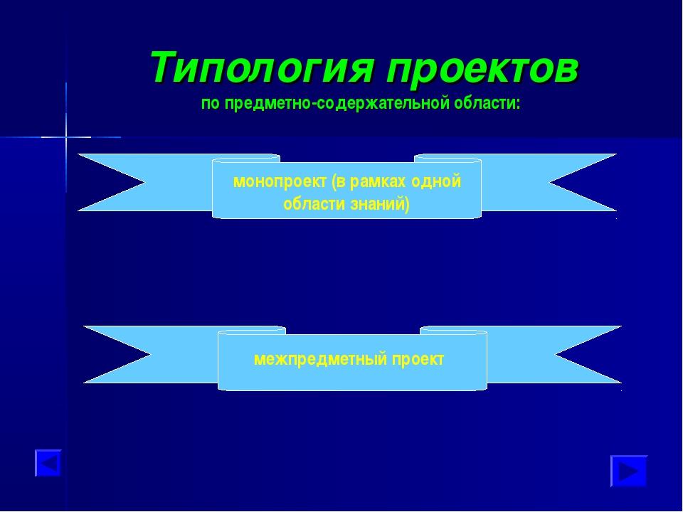 Типология проектов по предметно-содержательной области: монопроект (в рамках...