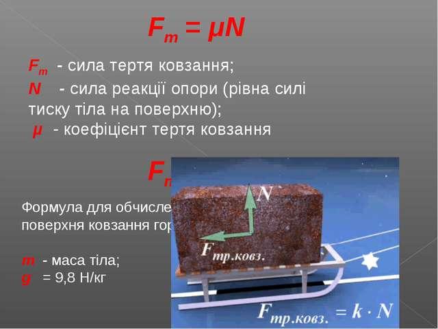 Fт = μN Fт - сила тертя ковзання; N - сила реакції опори (рівна силі тиску ті...