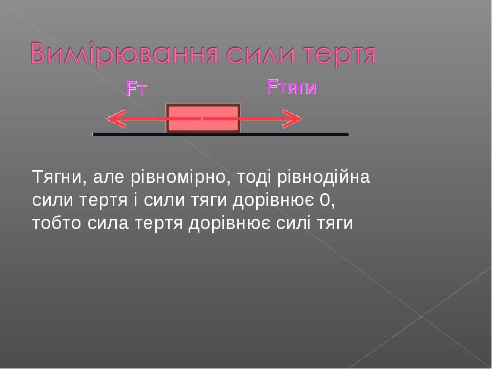 Тягни, але рівномірно, тоді рівнодійна сили тертя і сили тяги дорівнює 0, тоб...