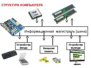 Информационная магистраль (шина) Устройства ввода Устройства вывода Внешняя п