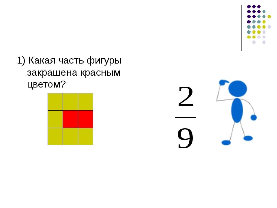 1) Какая часть фигуры закрашена красным цветом?