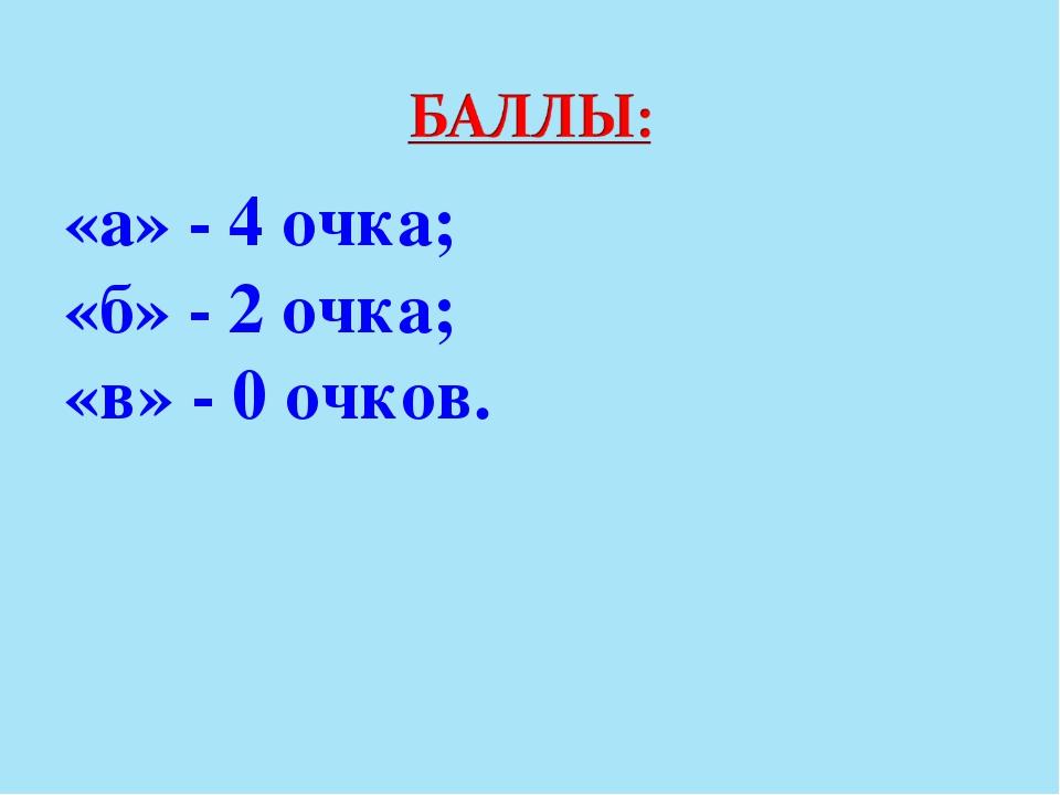 «а» - 4 очка; «б» - 2 очка; «в» - 0 очков.