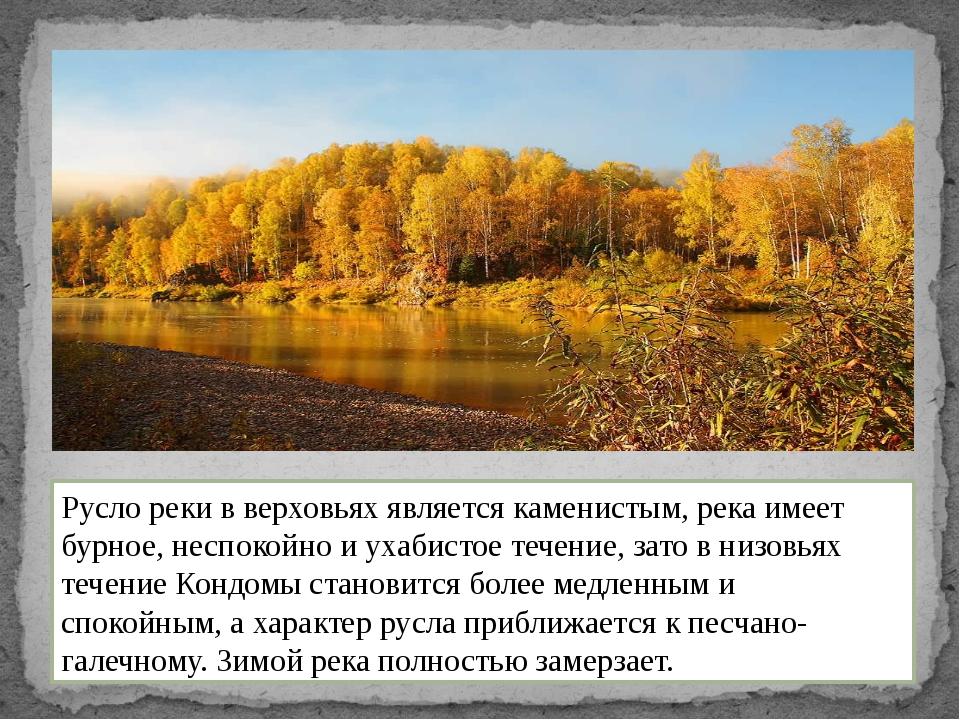 Русло реки в верховьях является каменистым, река имеет бурное, неспокойно и у...