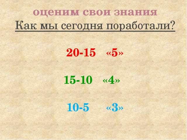 оценим свои знания Как мы сегодня поработали? 20-15 «5» 15-10 «4» 10-5 «3»