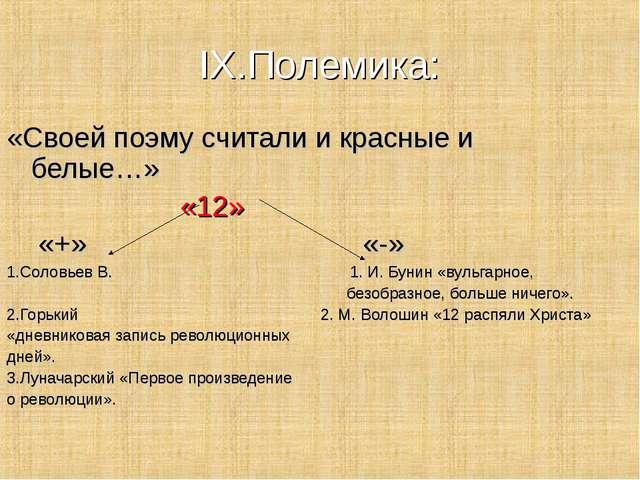 IX.Полемика: «Своей поэму считали и красные и белые…» «12» «+» «-» 1.Соловьев...