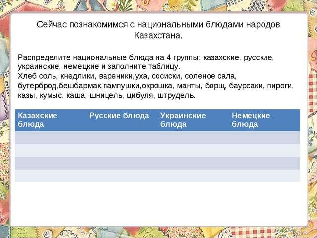 Сейчас познакомимся с национальными блюдами народов Казахстана. Распределите...