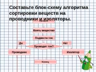 Составьте блок-схему алгоритма сортировки веществ на проводники и изоляторы.