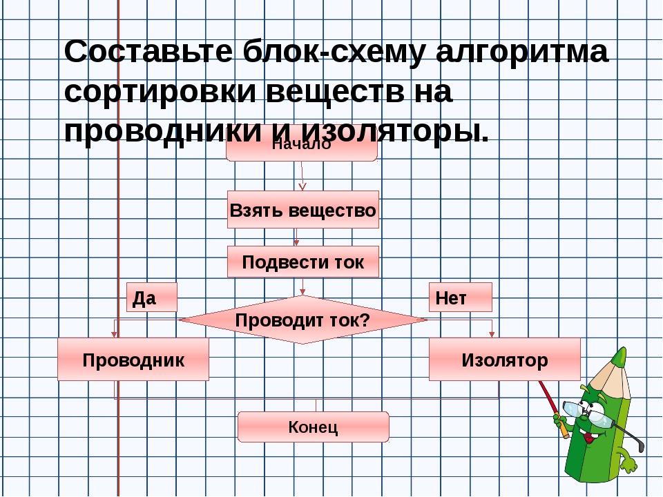 Составьте блок-схему алгоритма сортировки веществ на проводники и изоляторы....