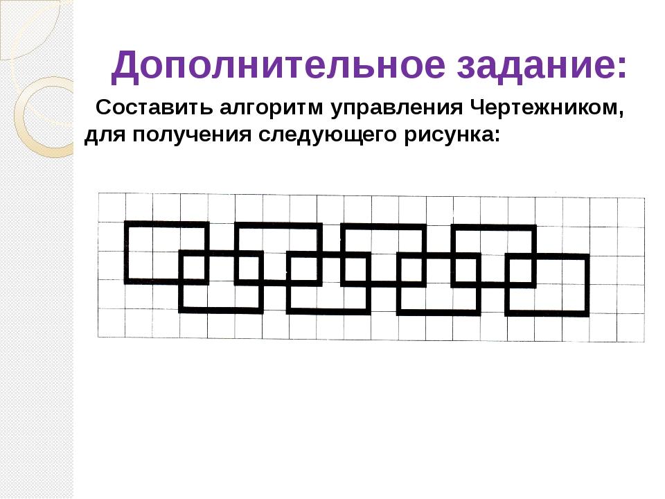 Дополнительное задание: Составить алгоритм управления Чертежником, для получе...