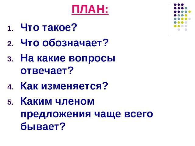 ПЛАН: Что такое? Что обозначает? На какие вопросы отвечает? Как изменяется? К...