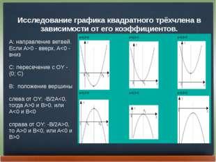 Исследование графика квадратного трёхчлена в зависимости от его коэффициентов