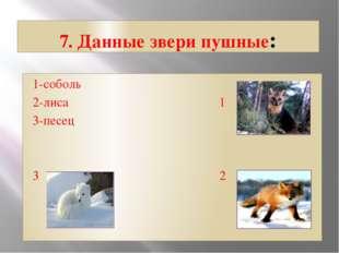 7. Данные звери пушные: 1-соболь 2-лиса 1 3-песец 3 2