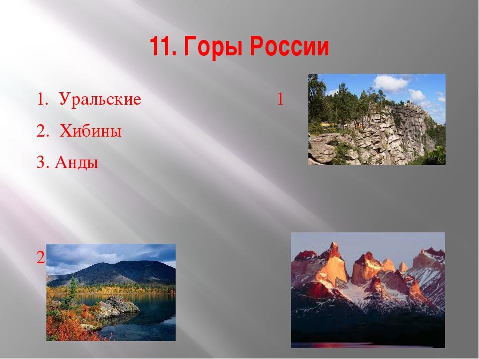 11. Горы России 1. Уральские 1 2. Хибины 3. Анды  23