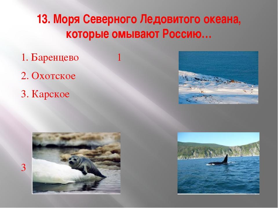 13. Моря Северного Ледовитого океана, которые омывают Россию… 1. Баренцево...