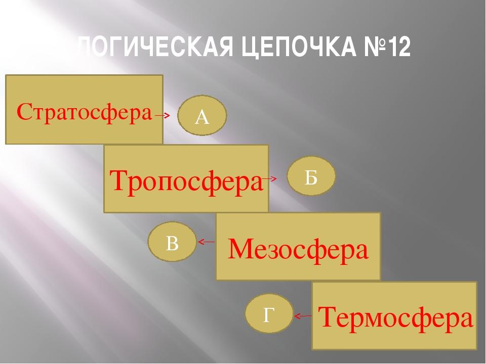 ЛОГИЧЕСКАЯ ЦЕПОЧКА №12 Термосфера Мезосфера Тропосфера Б Г В А