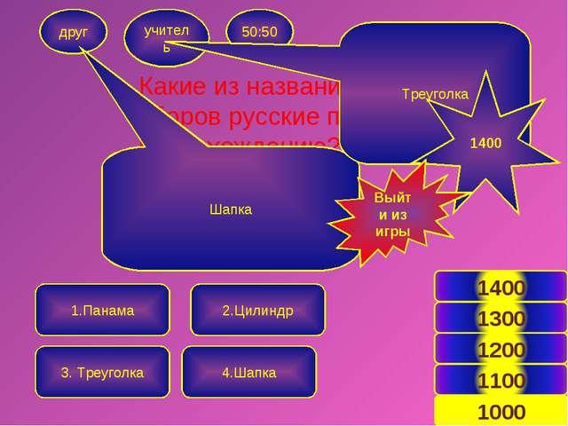 Какие из названий головных уборов русские по происхождению? друг учитель 50:5...