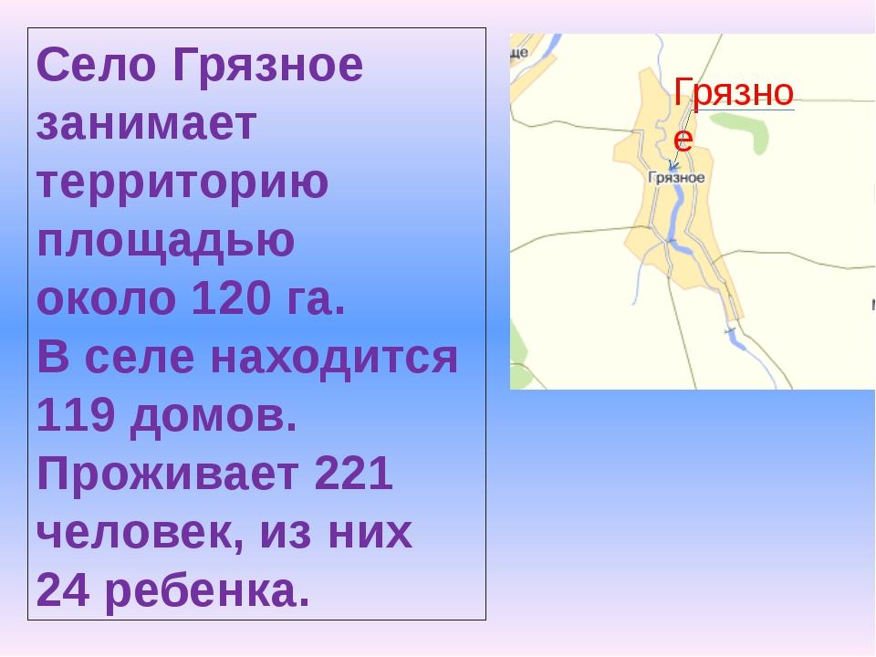 Грязное Село Грязное занимает территорию площадью около 120 га. В селе находи...