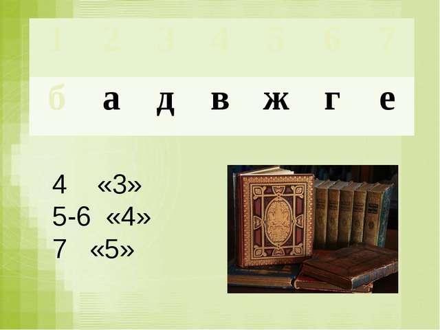 4 «3» 5-6 «4» 7 «5» 1 2 3 4 5 6 7 б а д в ж г е