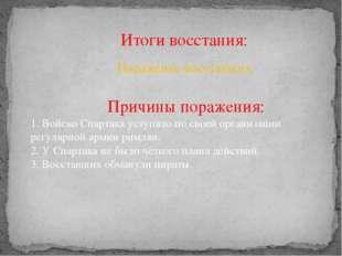 Итоги восстания: Поражение восставших Причины поражения: 1. Войско Спартака у
