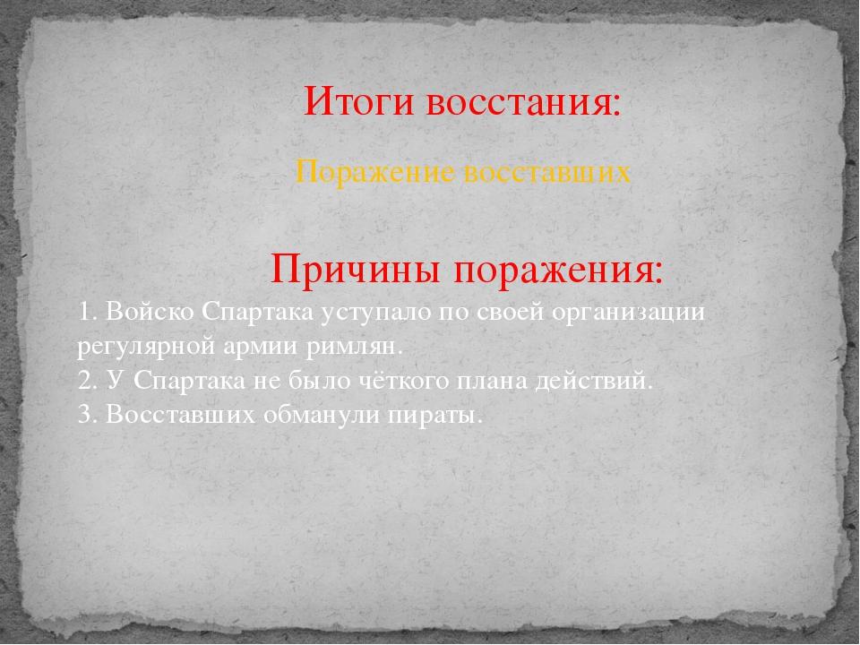 Итоги восстания: Поражение восставших Причины поражения: 1. Войско Спартака у...