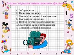 W C S b d E Y g H J K M L F o P Q t u R z l V x N Этапы создания анимационных