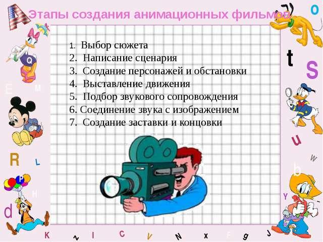 W C S b d E Y g H J K M L F o P Q t u R z l V x N Этапы создания анимационных...