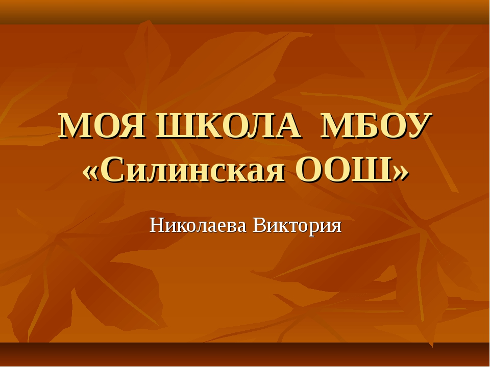 МОЯ ШКОЛА МБОУ «Силинская ООШ» Николаева Виктория