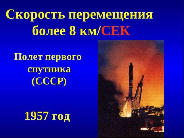 Скорость перемещения более 8 км/СЕК Полет первого спутника (СССР) 1957 год