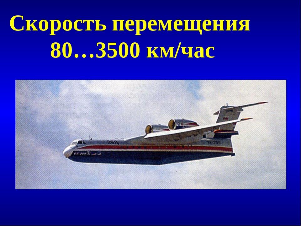 Скорость перемещения 80…3500 км/час