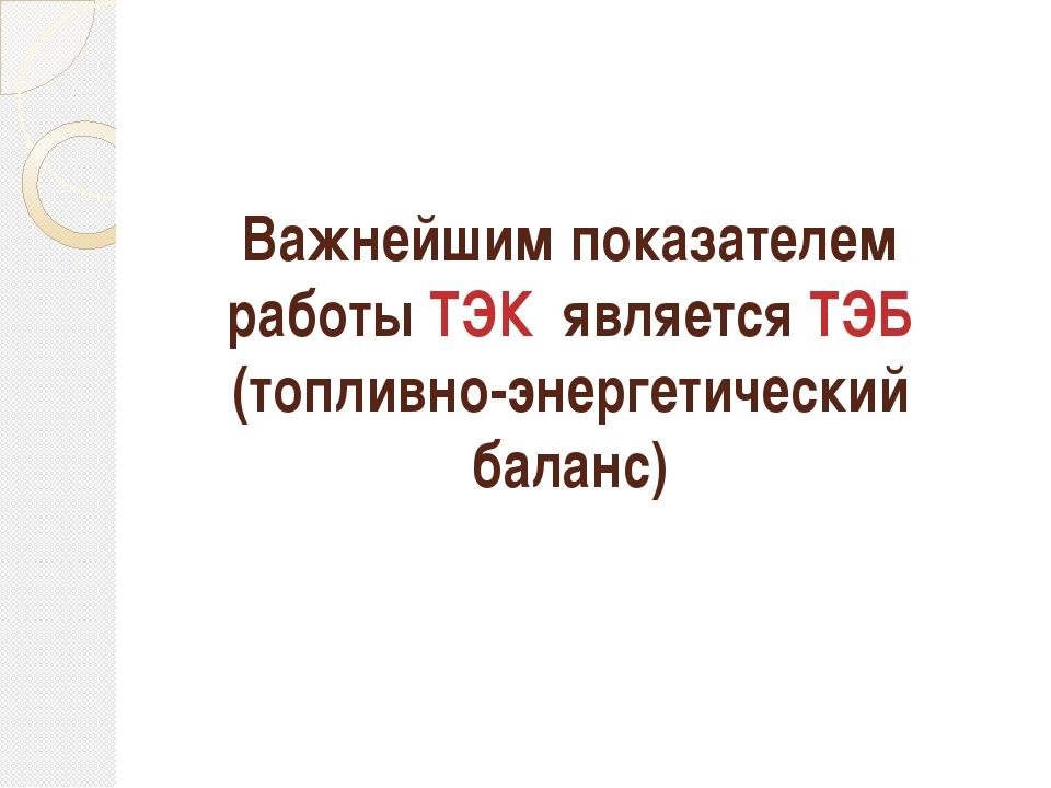 Важнейшим показателем работы ТЭК является ТЭБ (топливно-энергетический баланс)