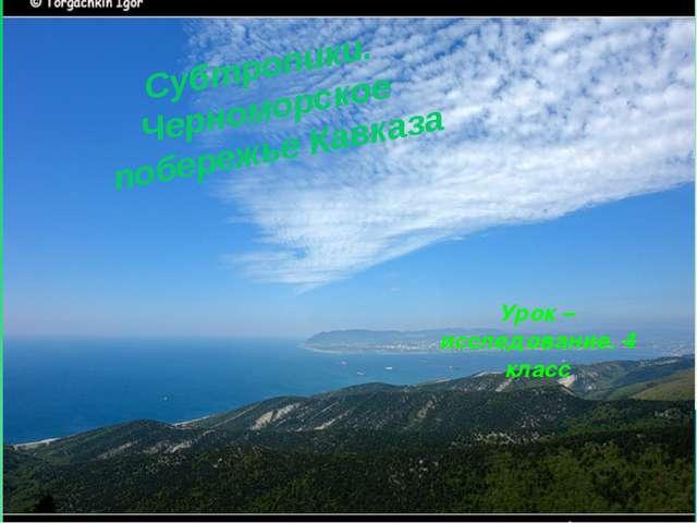 Урок – исследование. 4 класс Субтропики. Черноморское побережье Кавказа