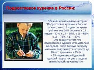 """Подростковое курение в России: Общенациональный мониторинг """"Подростковое куре"""