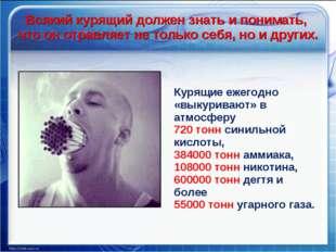 Курящие ежегодно «выкуривают» в атмосферу 720 тонн синильной кислоты, 384000