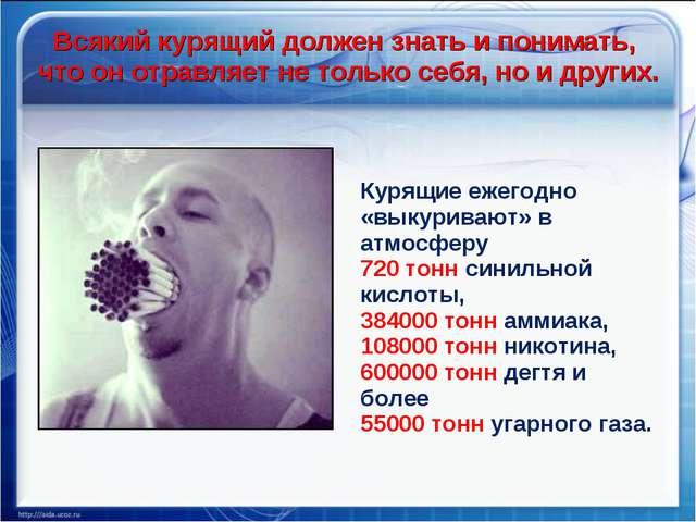Курящие ежегодно «выкуривают» в атмосферу 720 тонн синильной кислоты, 384000...