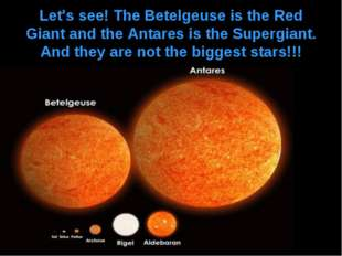 Let's see! The Betelgeuse is the Red Giant and the Antares is the Supergiant.