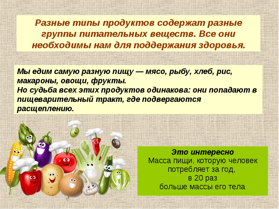 Мы едим самую разную пищу — мясо, рыбу, хлеб, рис, макароны, овощи, фрукты. Н...