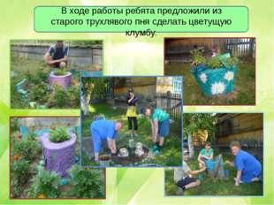 В ходе работы ребята предложили из старого трухлявого пня сделать цветущую к
