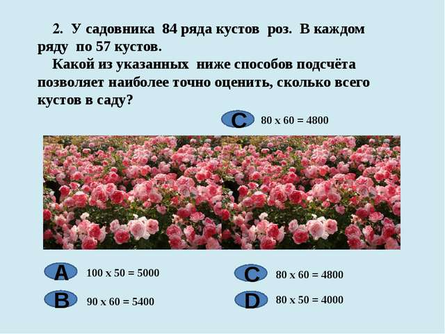 2. У садовника 84 ряда кустов роз. В каждом ряду по 57 кустов. Какой из указ...