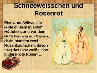 Schneeweisschen und Rosenrot Eine arme Witwe, die lebte einsam in einem Hüttc