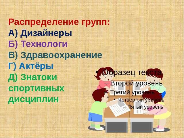 Распределение групп: А) Дизайнеры Б) Технологи В) Здравоохранение Г) Актёры...