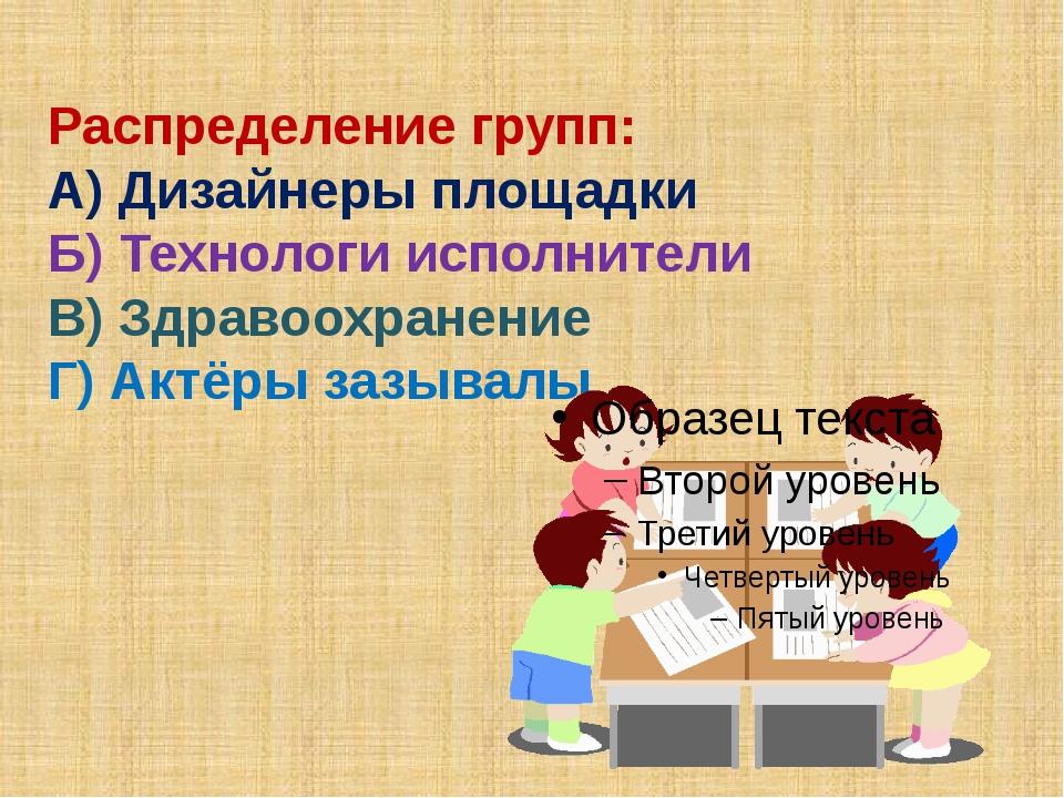 Распределение групп: А) Дизайнеры площадки Б) Технологи исполнители В) Здрав...
