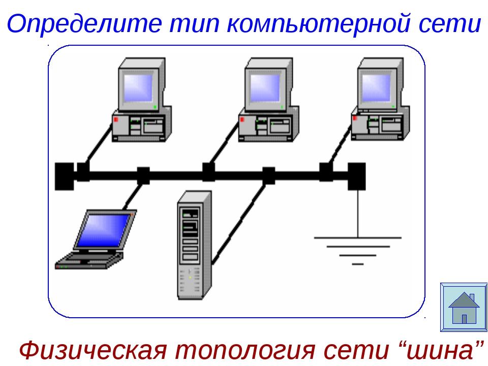 """Определите тип компьютерной сети Физическая топология сети """"шина"""""""