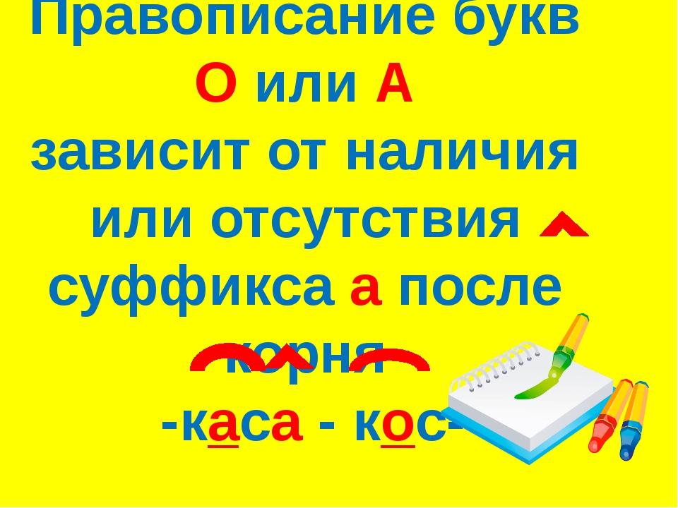 Правописание букв О или А зависит от наличия или отсутствия суффикса а после...