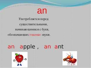 an Употребляется перед существительными, начинающимися с букв, обозначающих