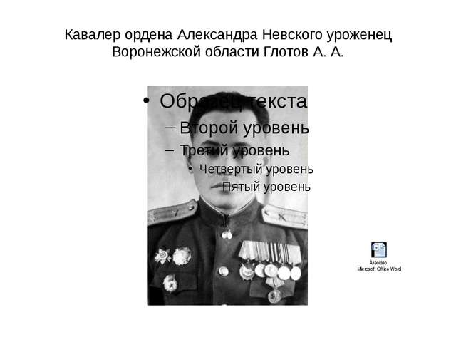 Кавалер ордена Александра Невского уроженец Воронежской области Глотов А. А.