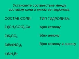 Установите соответствие между составом соли и типом ее гидролиза. СОСТАВ СОЛИ